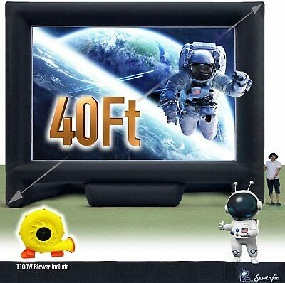 Sewinfla 40Ft Inflatable Movie Screen with1100 Blower Front and Rear Projection