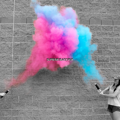 4 Baby Gender Reveal Powder Cannons Party Poppers Smoke Cannon Holi Confetti 12