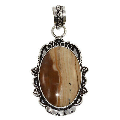 Picture Jasper Gemstone Mothers Day Girlfriend Gifted Silver Jewelry Pendant 2