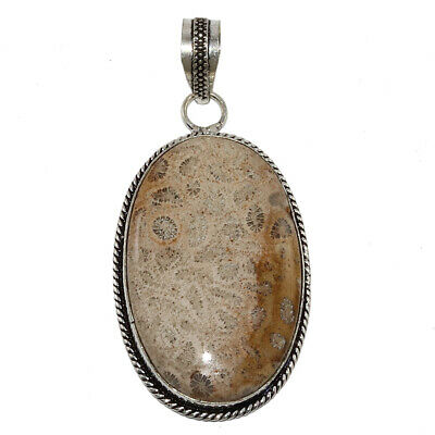 Fossil Coral Gemstone Mothers Day Girlfriend Gifted Silver Jewelry Pendant 2-5