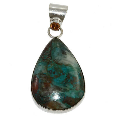 Chrisocolla Gemstone Mothers Day Girlfriend Gifted Silver Jewelry Pendant 2-25