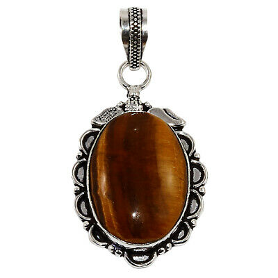 Tiger EyeS Gemstone Mothers Day Girlfriend Gifted Silver Jewelry Pendant 2-25