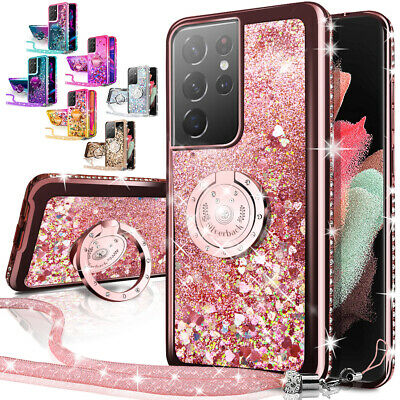 For Samsung Galaxy S21 Plus S21 Ultra 5G Case Glitter Liquid Cover - Ring Stand
