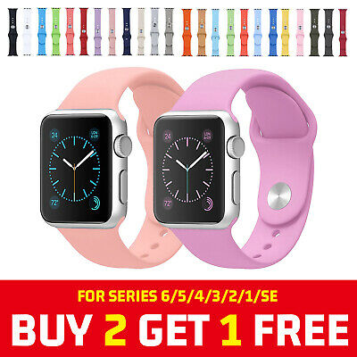 For Apple Watch Series 6 5 4 3 SE Silicone Sport iWatch Band Strap 38404244mm