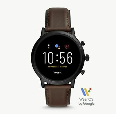 Fossil - Gen 5 Smartwatch 44mm Stainless Steel - Black with Brown Leather Band