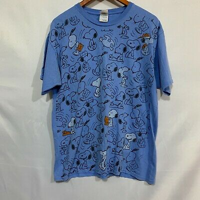 Snoopy Dog Peanuts Mens Blue Short Sleeve Crew Neck Graphic T Shirt Size Large