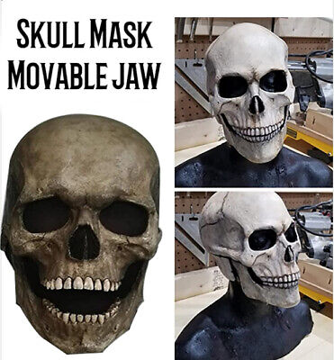 Skull Mask with Moving Jaw Adult Entire Head Latex Helmet