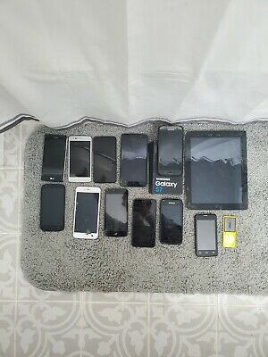 Mixed Lot of 13 Cellphones and Other Electronics Apple Samsung LG ZTE Ipad