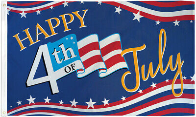Happy Fourth of July Stars Flag 3x5ft American Independence Day 4th of July Flag
