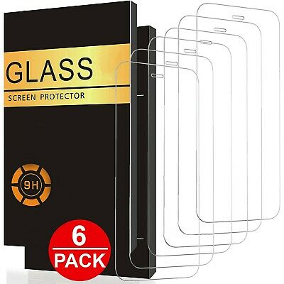 6 PACK For iPhone 13 Pro Max 12 11 XR X XS 8 7 6 Tempered GLASS Screen Protector