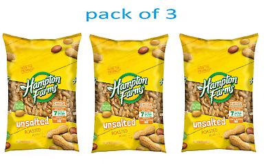 Hampton Farms Unsalted In-Shell Peanuts 5 lbs- Pack of 3 Free Shipping