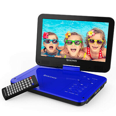 10 DVD Player 5 Hours Rechargeable Battery Swivel Screen 1-8M Car Charger Blue