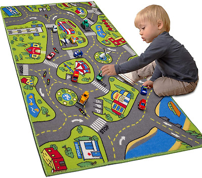 LargeKids Carpet Playmat Rug 32 x 52 with Non-Slip Backing City Life Play in
