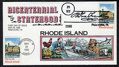1990 Rhode Island 200th 2348 - Collins Hand Painted FDC QH219