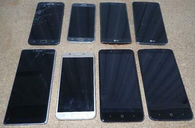 Lot of 8 Smart Cell Phones LG Samsung ZTE Motorola for parts