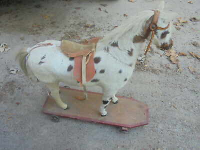 Vintage Folk Art Pull Toy Horse with real hair