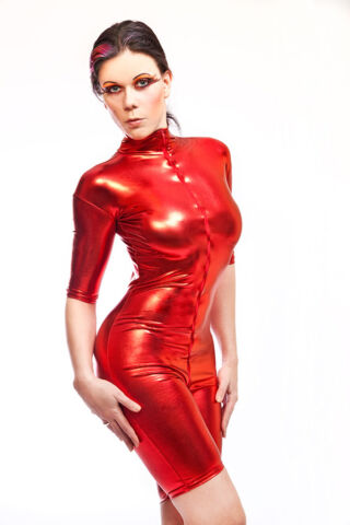 CATSUIT OVERALL GOTHIC LACK LATEX LOOK FARBE ROT COLOR RED