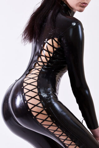 LATEX GUMMI RUBBER CATSUIT OVERALL GANZANZUG MIT LATEX SCHNRUNG LATEX LACE UP