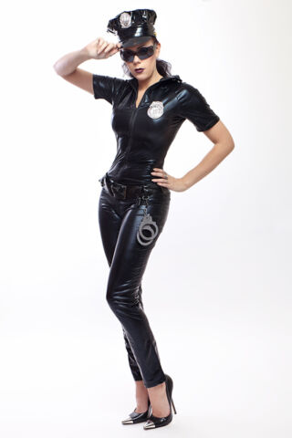 SEXY POLIZEI KOST M IN LACK LATEX LOOK SEXY POLICE WOMAN COSTUME