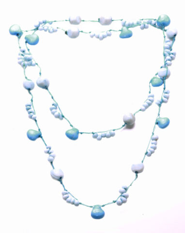 COOL BLUE WHITE BEADED CUTE BLUE THREAD STONE NECKLACE ZX176