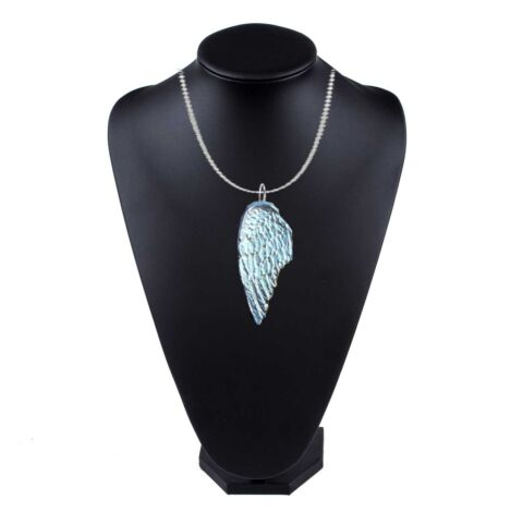 FT192 LARGE ANGEL WING 2 4X5 9CM PEWTER ON 24 SILVER PLATED CURB NECKLACE