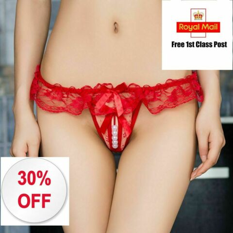 CROTCHLESS UNDERWEAR OPEN CROTCH SEXY THONGS PANTIES PEARL LACE G STRING EROTIC