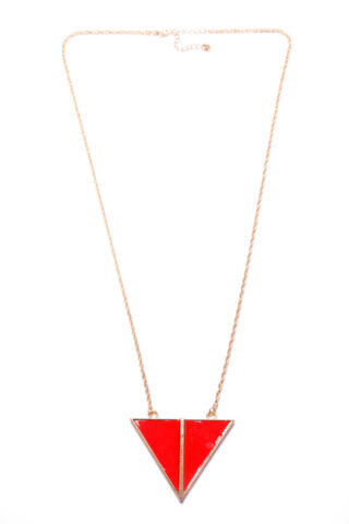 BEAUTIFUL LADIES LONG GOLD CHAIN NECKLACE W RED TRIANGULAR FRONT PLATE T350