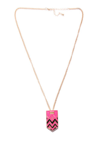 STYLISH GIRLY LONG SKINNY NECKLACE W METAL MAGENTA PINK GOLD BLACK PLATE T350
