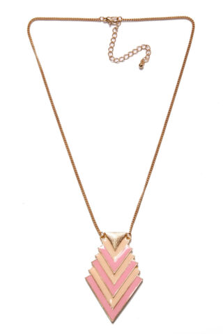 STYLISH WOMEN SKINNY GOLD NECKLACE W PEACH BLUSH PINK GEOMETRICAL TRIANGLE T350