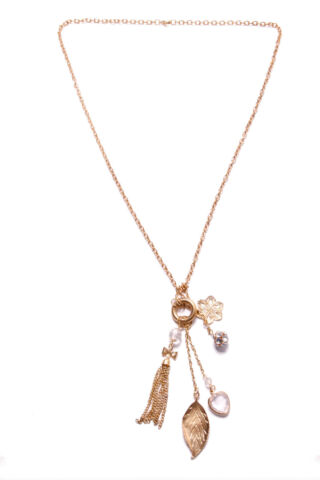 GORGEOUS WOMEN GOLD NECKLACE LEAF FLOWER HEART TASSEL DIAMANTE DETAILS T350