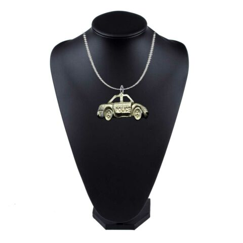 FT299 POLICE CAR 3 8X1 5CM PEWTER ON 16 SILVER PLATED CURB NECKLACE