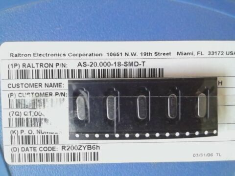 5 X QUARZ AS 20 000 18 SMD T 20MHZ 50PPM 18PF NEU