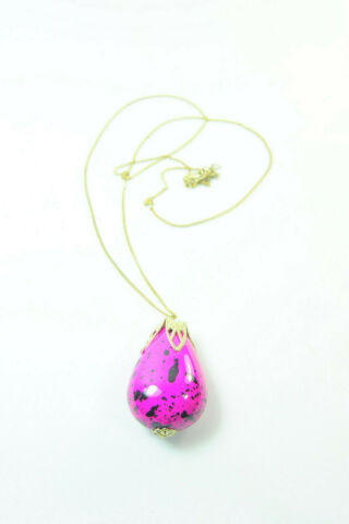 LOVELY LADIES EXTRA THIN GOLD LONG NECKLACE W BRIGHT PINK STONE PENDANT ST142