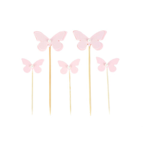 5PCS PINK BUTTERFLY WITH PEARL CUPCAKE TOPPERS CAKE PICKS BIRTHDAY PARTY DECO GR