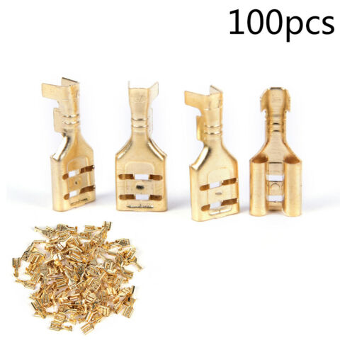 100 PCS GOLD BRASS CAR SPEAKER FEMALE SPADE TERMINAL WIRE CONNECTOR 6 3MM QY