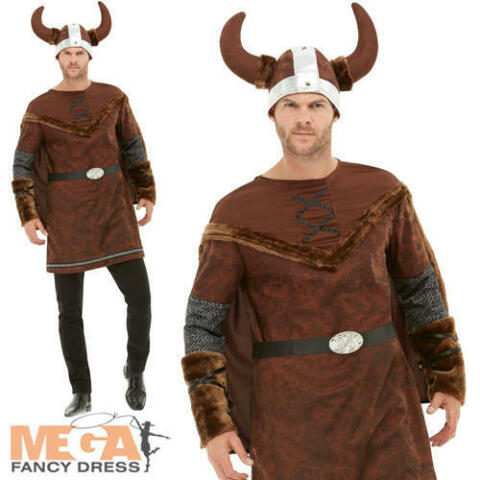 VIKING BARBARIAN MENS FANCY DRESS SAXON ADULT HISTORICAL BOOK DAY COSTUME OUTFIT