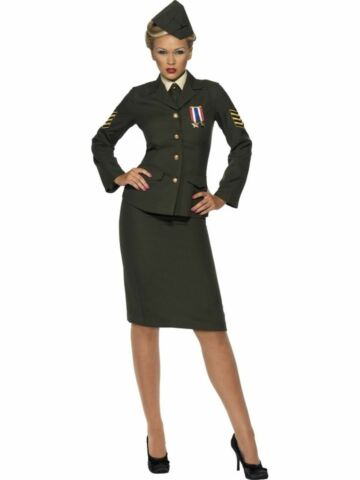 1940S WARTIME ARMY OFFICER UNIFORM LADIES FANCY DRESS COSTUME OUTFIT ADULT SEXY