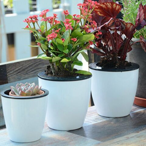SELF WATERING PLANT FLOWER POT WALL HANGING PLASTIC PLANTER HO HP