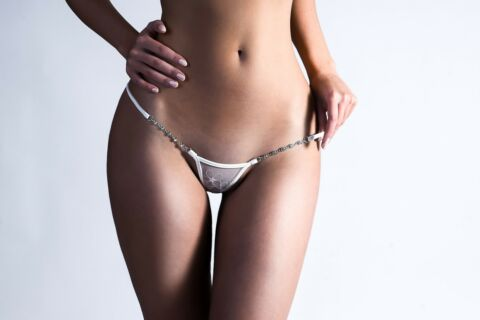 LUCKY CHEEKS IVORY PEARL MICRO STRING SEXY LUXUS DESSOUS MICRO THONG LINGERIE