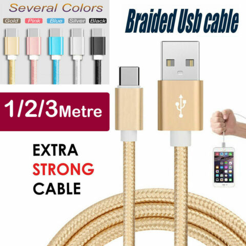 BRAIDED USB TYPE C DATA MOBILE CHARGER CABLE LEAD FOR SAMSUNG S8 S9 S9 S10 S10