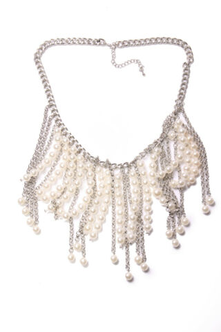 ELEGANT WOMEN SILVER COLOUR CHAIN NECKLACE WHITE PEARL BEADS CHAINS LINES T493