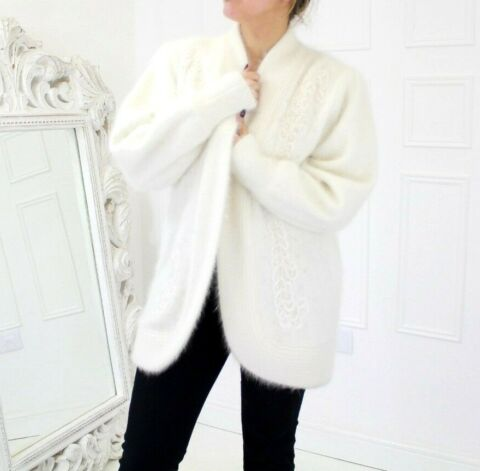 VTG FLUFFY PURE ANGORA CREAM LACE PEARL CRYSTAL OVERSIZED CARDIGAN OSFA