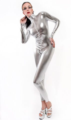 CATSUIT OVERALL GOTHIC LACK LATEX LOOK SILBER SILVER
