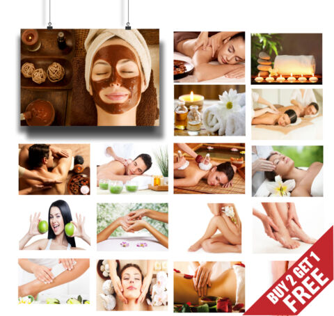 20 OPTIONS SPA MASSAGE SALON WELLBEING HEALTH AND BEAUTY POSTERS PRINTS A3 A4