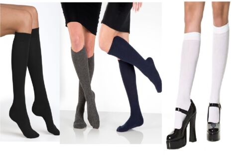 6 WOMEN GIRLS KNEE HIGH LENGTH COTTON SOCKS SCHOOL UNIFORM LADIES SOCKS UK 4 7
