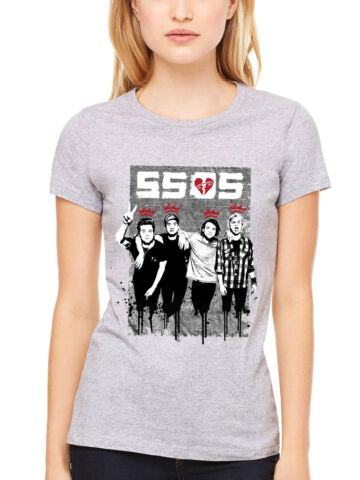OFFICIAL WOMENS 5 SECONDS OF SUMMER TWO FINGER DRIPPED T SHIRT 5SOS FIVE MUSIC