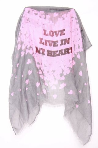 GREY NEON PINK I LOVE LIFE IN MY HEART WRITING HEARTS PRINT GIRLY SCARF S166