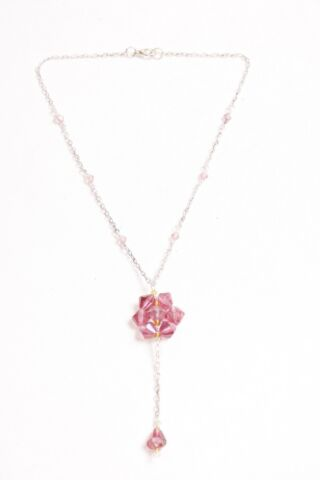 GORGEOUS GIRLY SILVER CHAIN THIN NECKLACE WITH PINK BEADS FLOWER PENDANT S506