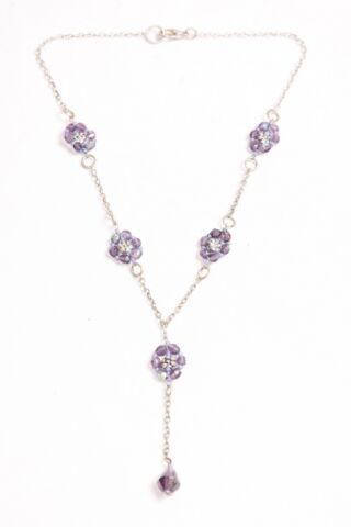 STUNNING MUST HAVE GIRLY THIN CHAIN NECKLACE WITH PURPLE BEADS FLOWERS S506