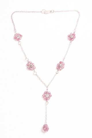 STUNNING MUST HAVE GIRLY THIN CHAIN NECKLACE WITH CUTE PINK BEADS FLOWERS S506